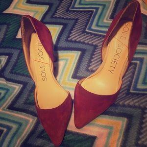 Burgundy suede pointed toe heels